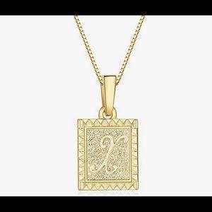 Gold Square Initial Pendant Necklaces